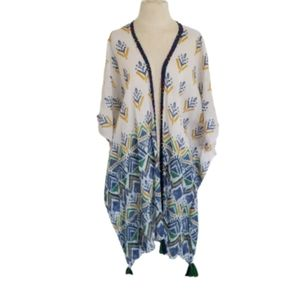 Kimono Blue and White with Tossels